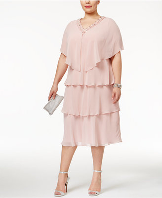 SL Fashions Plus Size Tiered Sheath Dress and Embellished Jacket $129 thestylecure.com