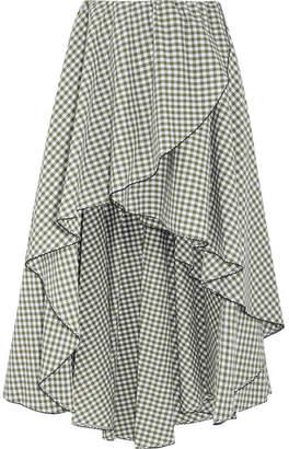 Caroline Constas Adelle Ruffled Gingham Cotton-poplin Skirt - Green