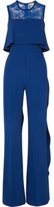 Elie Saab Ruffled Lace-paneled Stretch-crepe Jumpsuit - Royal blue