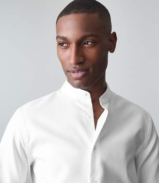Reiss Normandy Self Stripe Grandad Collar Shirt