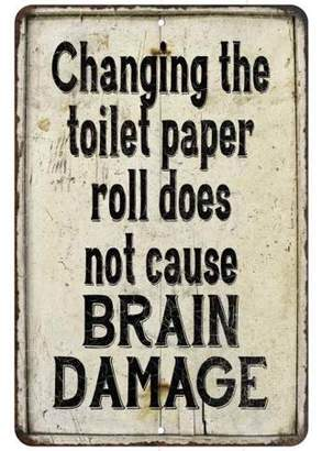 Chico Creek Signs Changing the toilet paper does not Vintage Look Chic Distressed 12x18112180020236