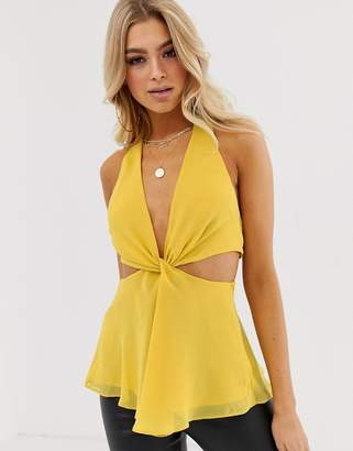 Asos Design DESIGN knot front halter neck top with cut out detail