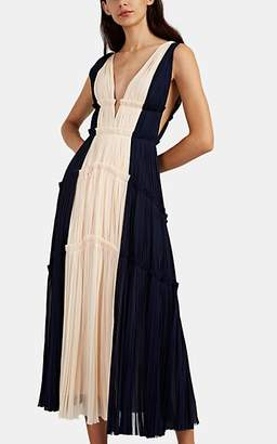 J. Mendel Women's Colorblocked Silk Plissé Cocktail Gown - Navy, Cream