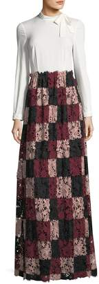 Mikael Aghal Long-Sleeve Combo Gown