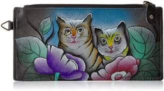 Anuschka Anna By Anuschka, Handpainted Leather Organizer Wallet,Two Cats Grey Wallet