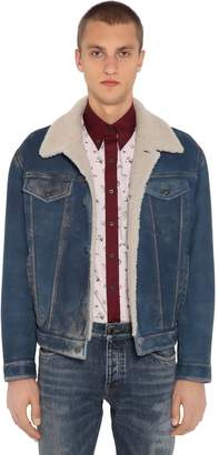 Prada Denim Effect Washed Shearling Jacket