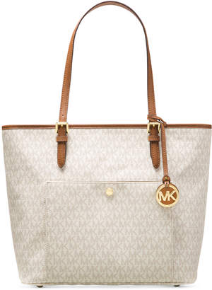 Michael Kors Signature Jet Set Item Large Top Zip Snap Pocket Tote