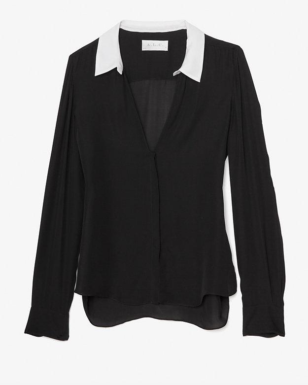 A.L.C. Contrast Collar Blouse