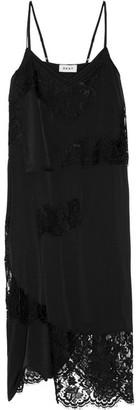DKNY - Lace-paneled Stretch-silk Satin Dress - Black $600 thestylecure.com