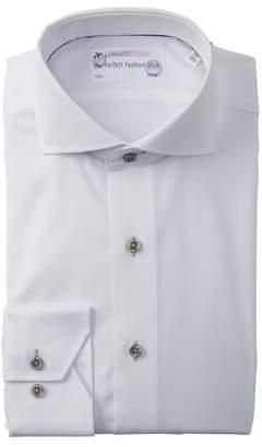 Lorenzo Uomo Solid Textured Trim Fit Dress Shirt