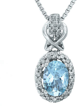 FINE JEWELRY 1/7 CT. T.W. Diamond and Genuine Aquamarine 10K White Gold Drop Pendant Necklace