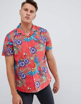 Asos DESIGN oversized floral printed shirt in red with revere collar