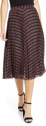 Whistles Sparkle Stripe Pleated Skirt