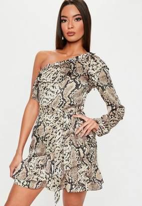 6e341dabad5 Missguided Brown Snake Print Frill One Shoulder Mini Dress