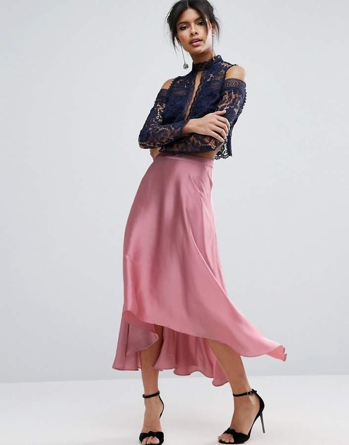 AsosASOS Midi Skirt in Satin with Splices