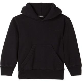 Balenciaga Kids - Unisex Logo Embroidered Cotton Blend Hoodie - Black