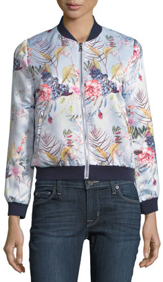 Neiman Marcus Floral-Print Bomber Jacket, Blue Pattern $89 thestylecure.com
