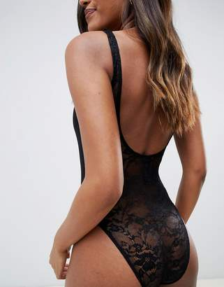 Asos Design DESIGN jersey rib lace back bodysuit