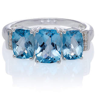 FINE JEWELRY Genuine Blue Topaz And Diamond Accent Sterling Silver 3 Stone Ring
