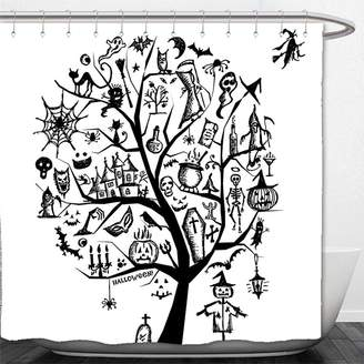 b-ROOM Interestlee Shower Curtain Halloween Decorations Collection Sketch Style Halloween Tree with Spooky Decor Objects and Wicked Witch on Broom Black White