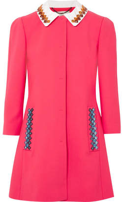 Mary Katrantzou Mason Embellished Wool-blend Coat - Fuchsia