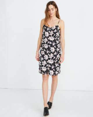 Madewell Button-Front Slip Dress in Winter Orchid