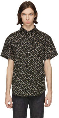 Naked & Famous Denim Denim Black Short Sleeve Vintage Flowers Shirt