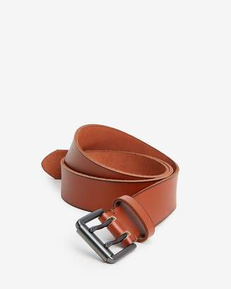 Express Cognac Double Brushed Leather Prong Buckle Belt
