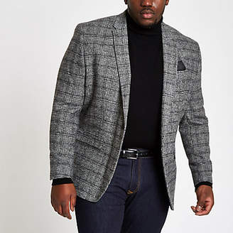 River Island Mens Big and Tall grey check skinny fit blazer