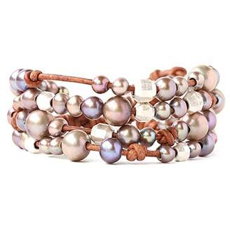 Chan Luu Women's Freshwater Pearl and Leather Layered Bracelet
