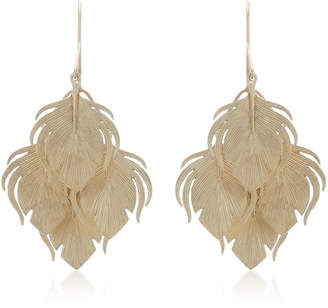 Annette Ferdinandsen Peacock Feather Clusters 14K Gold Drop Earrings