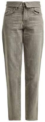 Atelier Jean Flip Fold Over Jeans - Womens - Light Grey