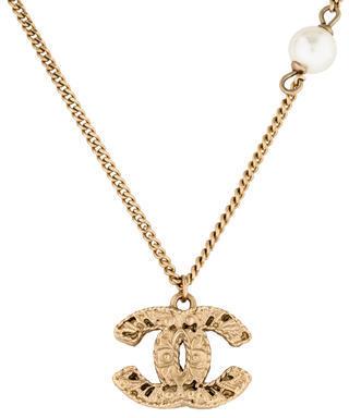 Chanel CC & Faux Pearl Pendant Necklace