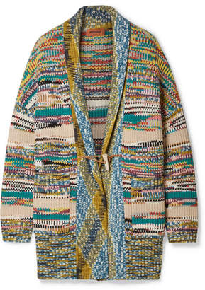 Missoni Oversized Crochet-knit Wool-blend Cardigan - Blue