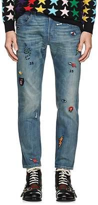 cc215639 Gucci Men's Embroidered Slim Jeans - Blue