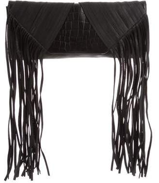 Herve Leger Fringe-Trimmed Leather Clutch