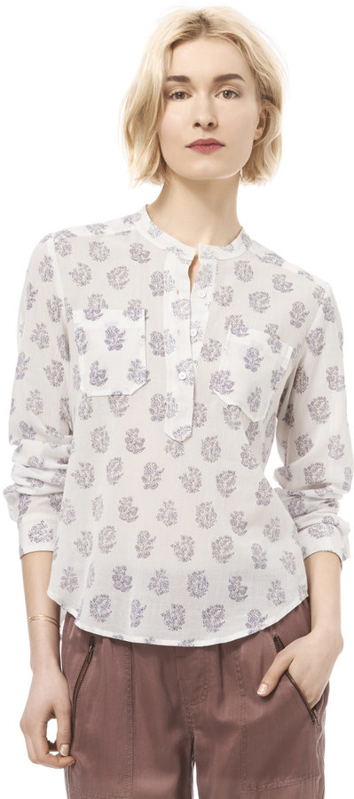 Rebecca Taylor Block Print Double Pocket Tee