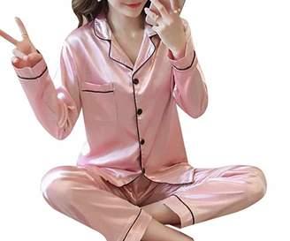 KAMA BRIDAL Women's Satin Pajama Set Long Sleeve Silk Sleepwear Loungewear Pj Sets L