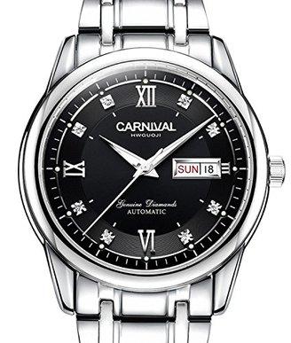 Carnival カーニバルメンズサファイアディアマンテ自動機械腕時計シルバーステンレススチール防水ブラック時計