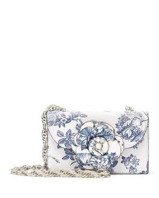 Oscar de la Renta Tro Flower-Print Crossbody Bag