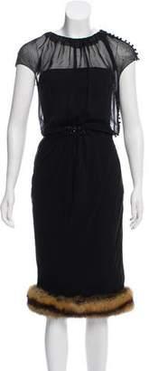J. Mendel Fur-Trimmed Midi Dress