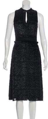 Andrew Gn Mink Fur-Trimmed Silk-Blend Dress