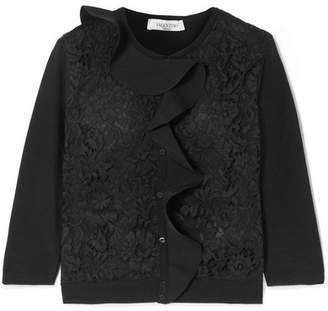 Valentino Ruffled Lace-paneled Knitted Cardigan - Black