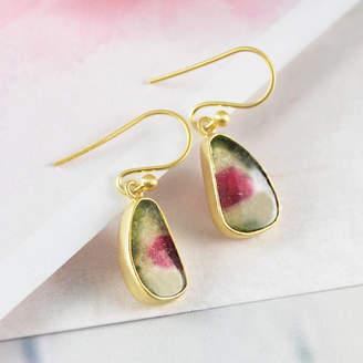 Embers Gemstone Jewellery Teardrop Watermelon Tourmaline Gold Drop Earrings