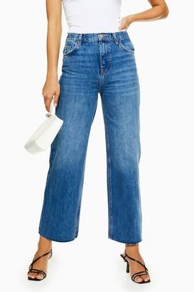 Topshop Womens Mid Blue Raw Hem Crop Jeans - Mid Stone