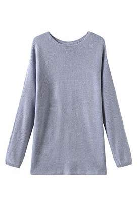 Fancy Stitch Women's Crewneck Loose Knitted Cashmere Sweater
