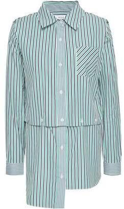 Milly Convertible Striped Cutout Cotton-poplin Shirt