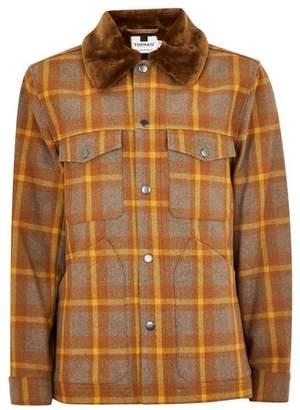 Topman Mens Multi Brown Borg Lined Wool Rich Jacket