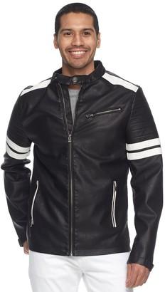 X-Ray Xray Men's XRAY Striped Faux-Leather Moto Jacket