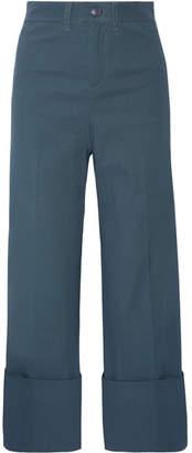 SEA - Cropped Stretch-poplin Wide-leg Pants - Storm blue $365 thestylecure.com